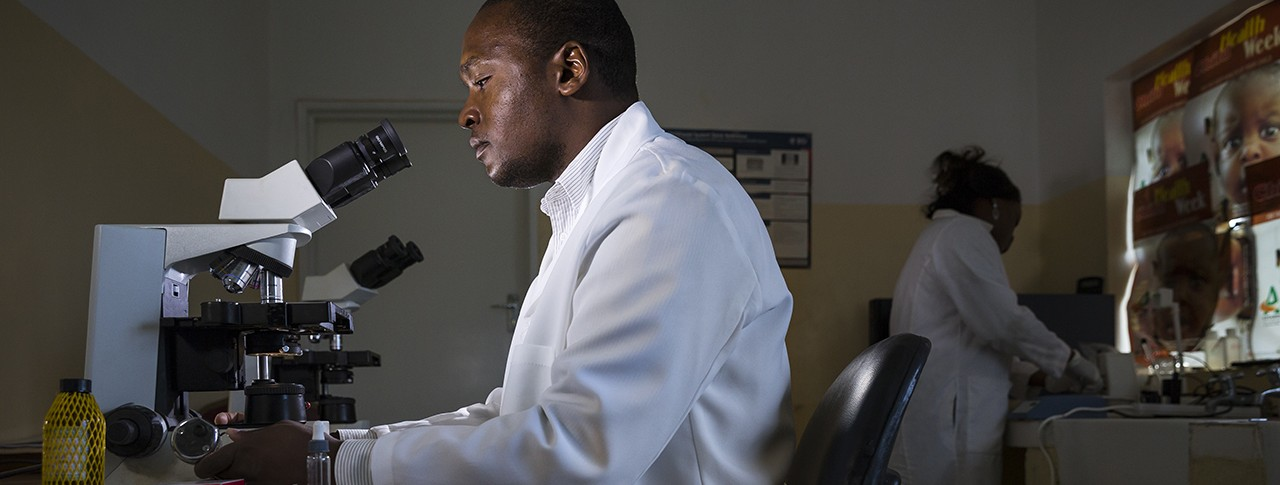 Two scientists working in a laboratory in Accra, Ghana